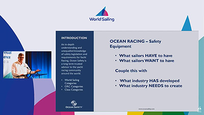 Alistair Hackett talking at the World Sailing Annual Conference 2018