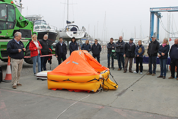 Lymington Yacht Haven liferaft demonstration